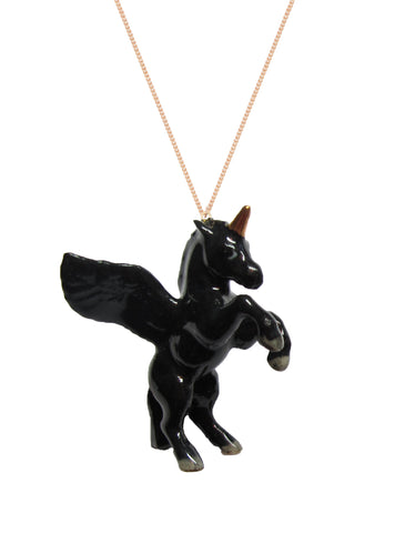 Flying Black Unicorn Necklace