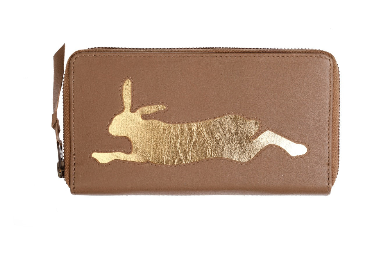 Dark Tan Leather Hare Cut Out Purse