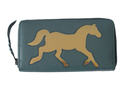 Dark Teal Leather Horse Cut Out Purse