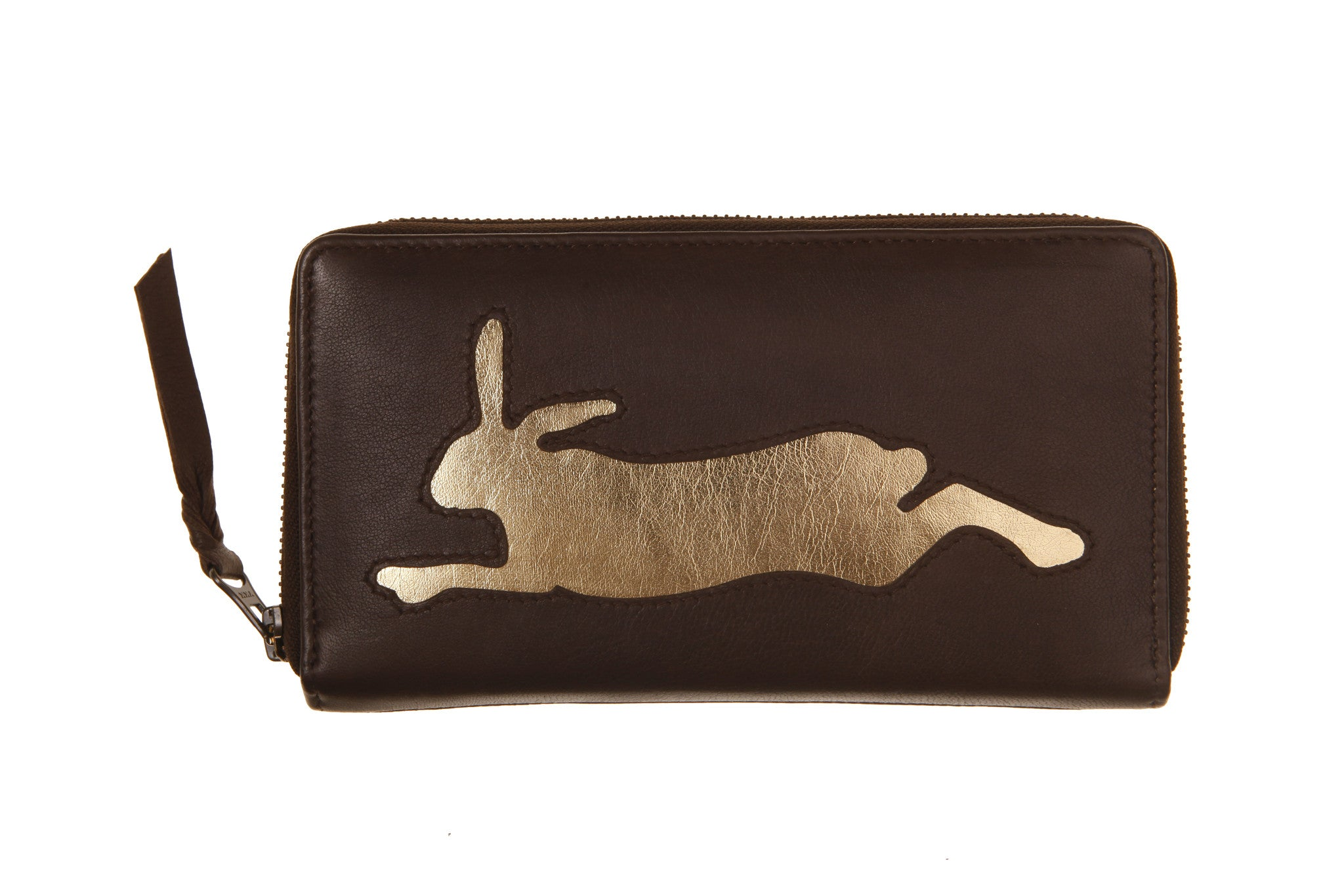 Chocolate Leather Hare Cut Out Purse