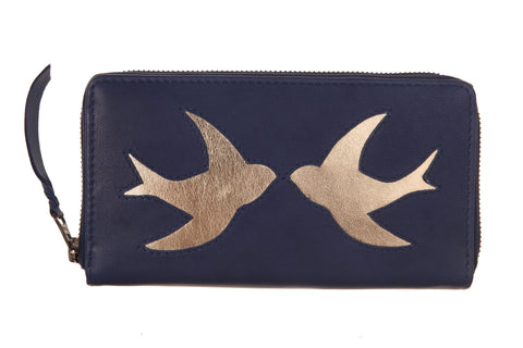 Navy Leather Swallow Cut Out Purse