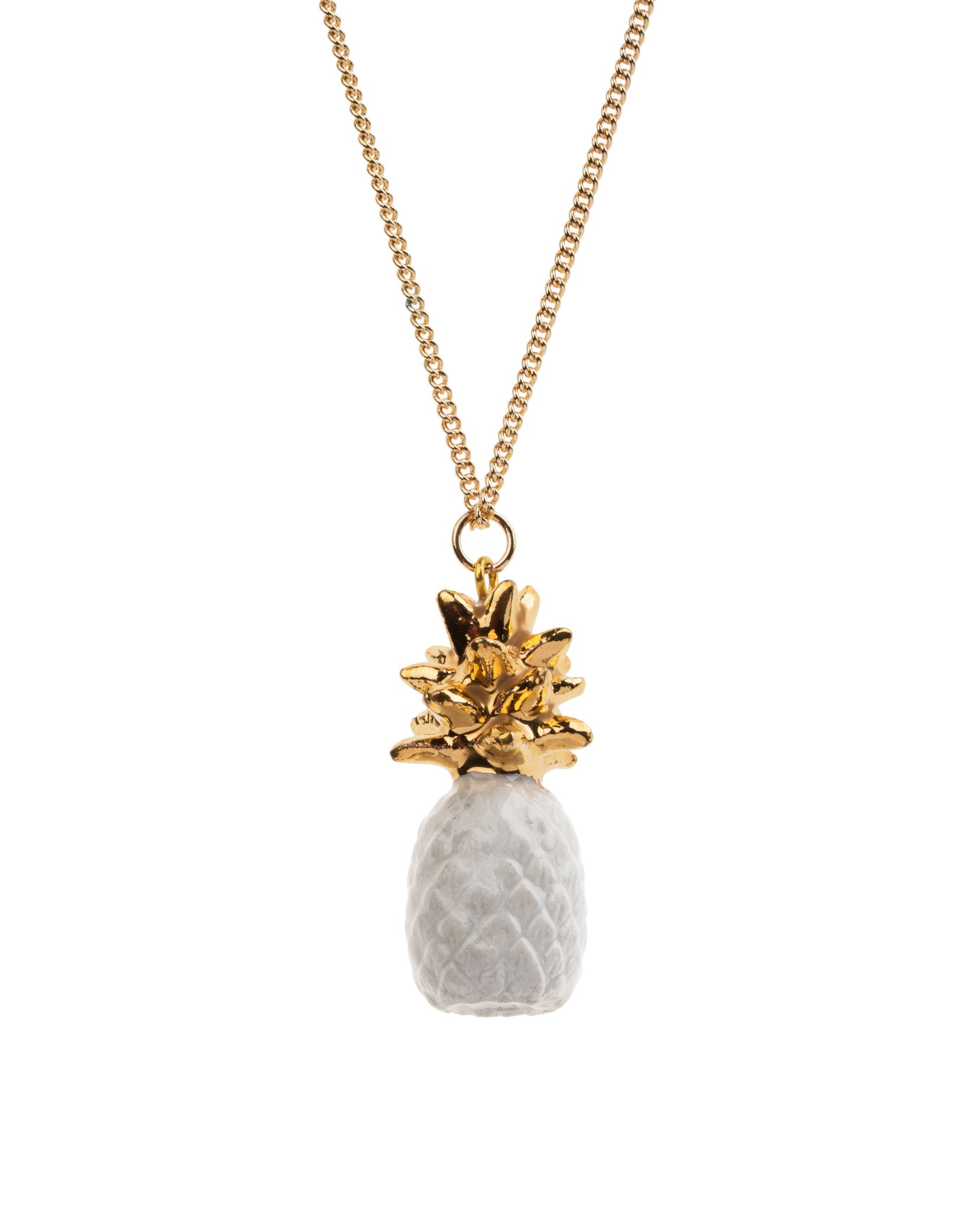 Small White & Gold Pineapple Necklace