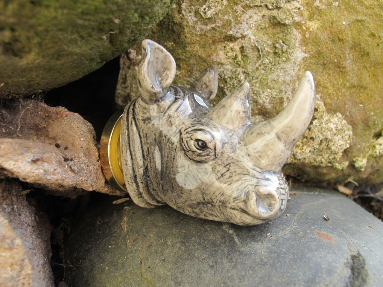 Grey Rhino Head Doorknob