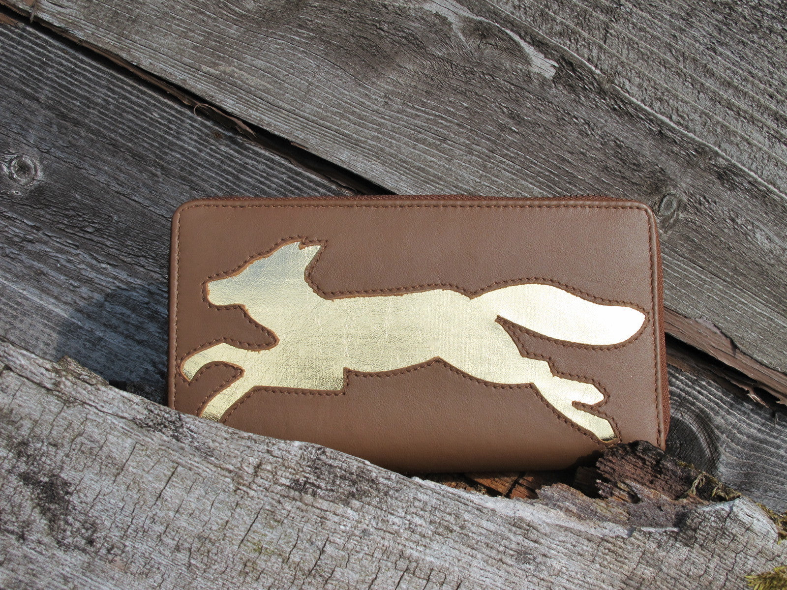 Dark Tan Leather Fox Cut Out Purse