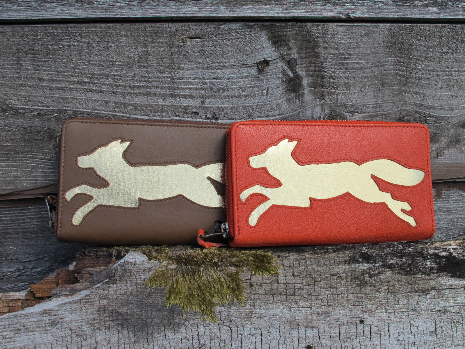 Tan Leather Fox Cut Out Purse