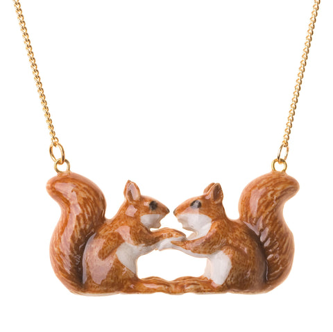 Kissing Squirrel Necklace