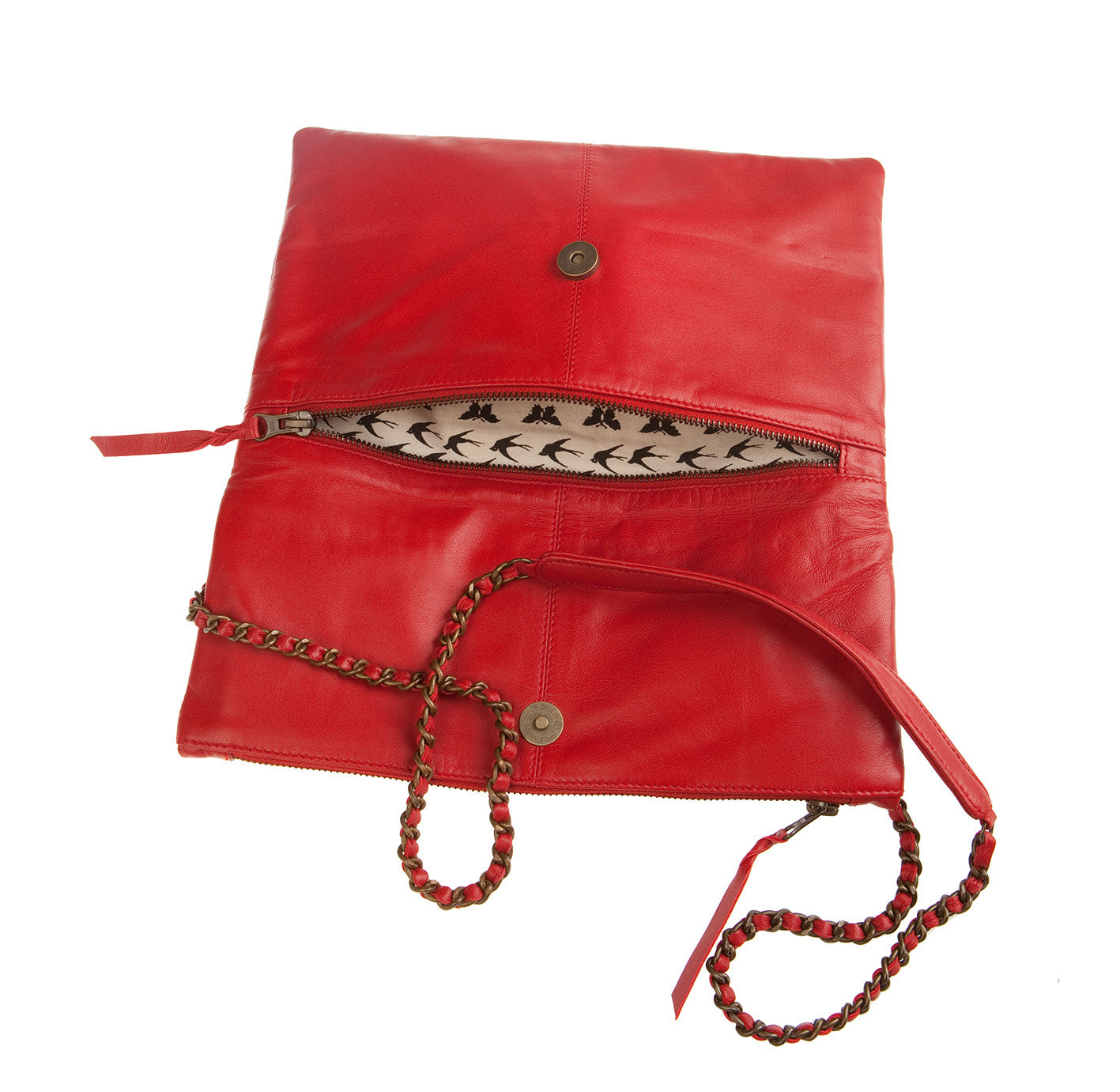 Italian Leather Red Foldover Bag