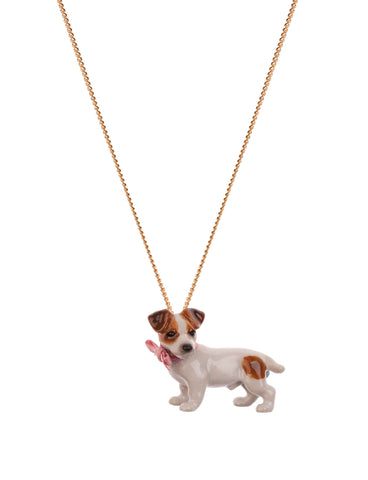 Jack Russell Necklace with Pink Bow
