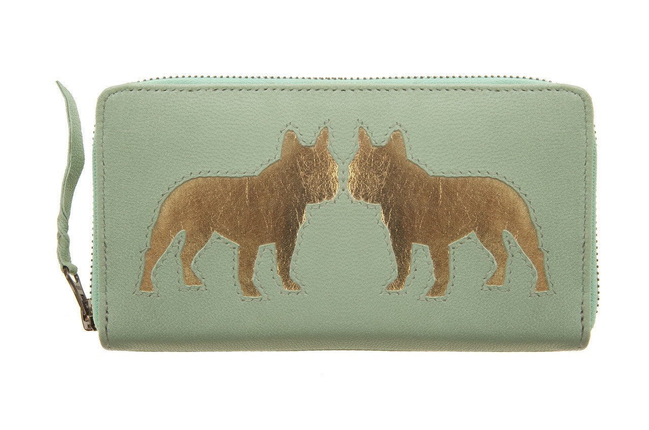 Mint Leather Kissing Frenchie Cut Out Purse