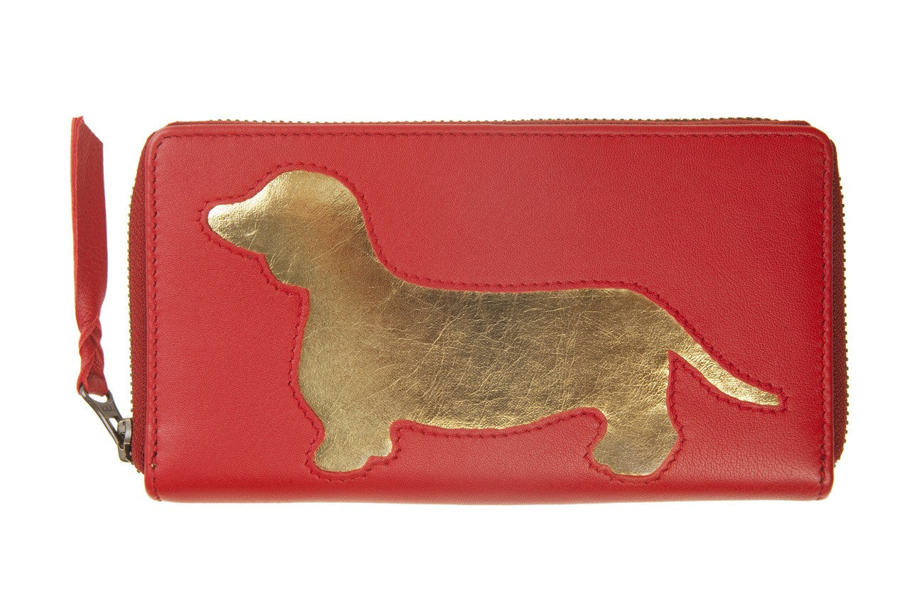 Red Leather Dachshund Cutout Purse