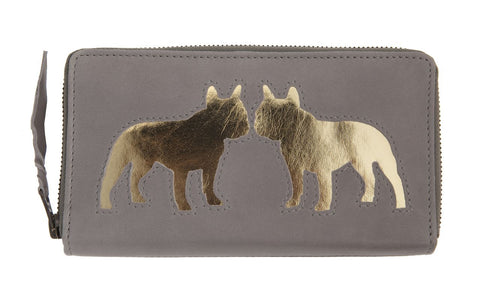 Grey Leather Kissing Bulldog Cut Out Purse