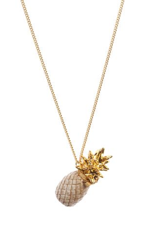 Large Gold Leaf Beige Pineapple Necklace
