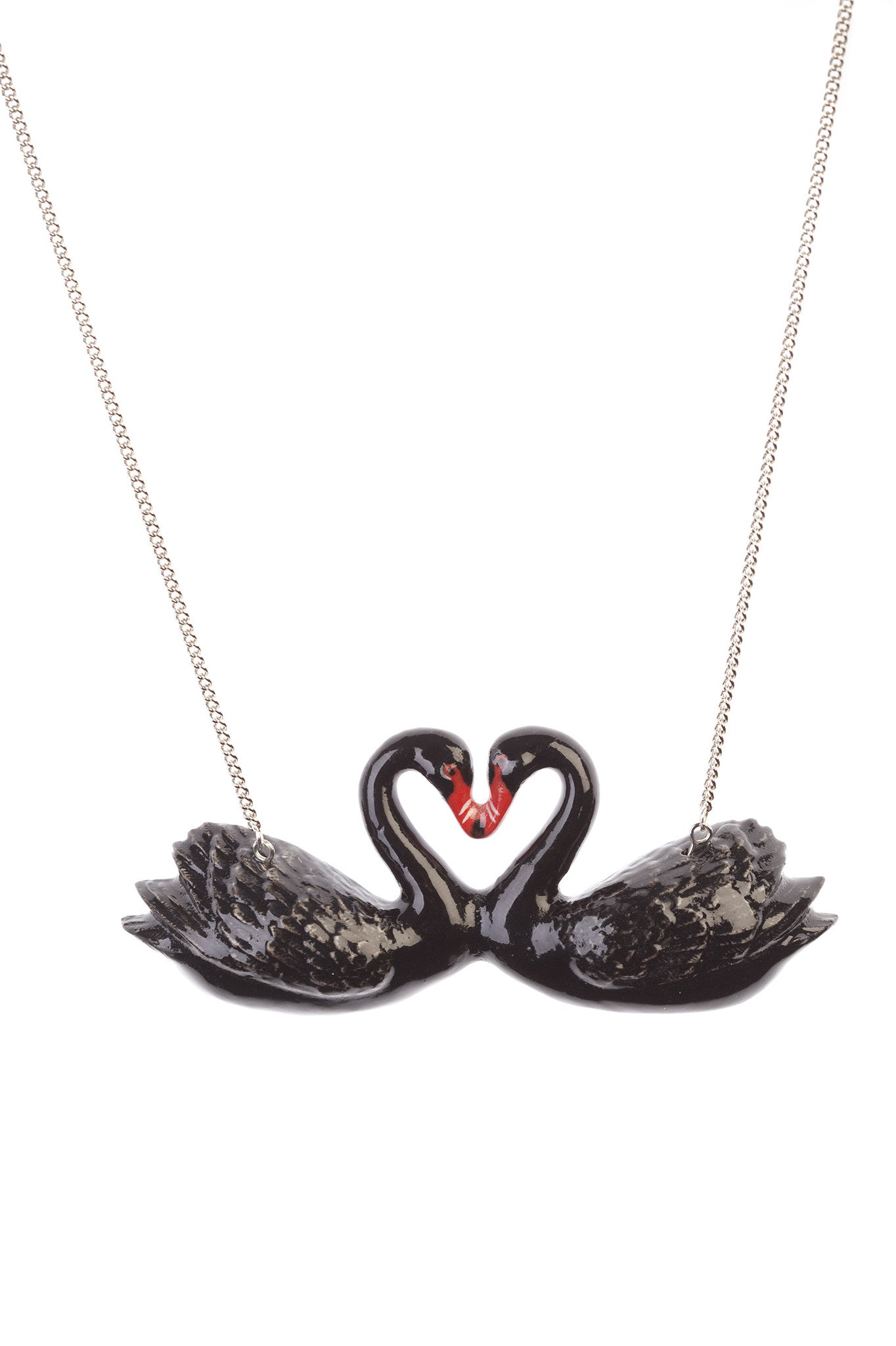 Black Kissing Swans Necklace