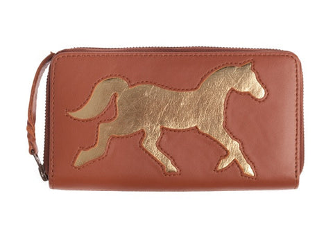 Brown Leather Horse Cut Out Purse