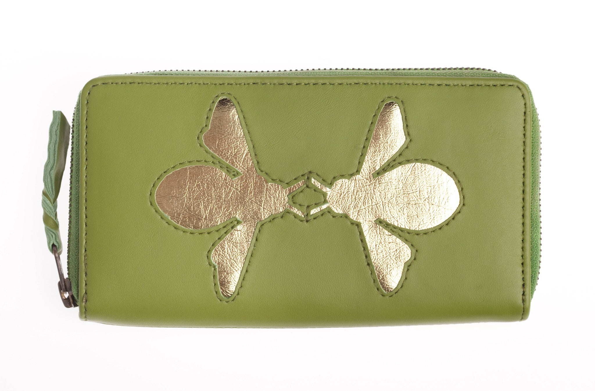 Apple Green Leather Double Bee Cut Out Purse