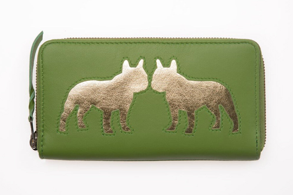 Apple Green Leather Kissing Bulldog Cut Out Purse
