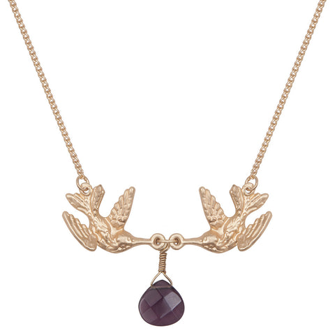 Kissing Humming Bird With Purple Drop Stone Necklace