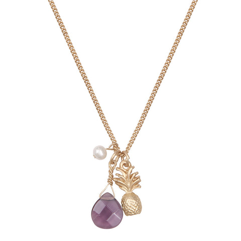 Tiny Pineapple With Purple Drop Stone Necklace
