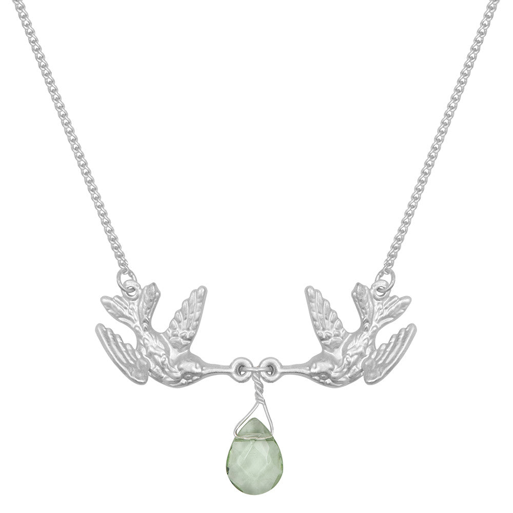 Kissing Humming Bird With Green Drop Stone Necklace