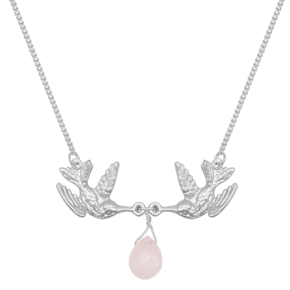 Kissing Humming Bird With Drop Pale Pink Stone Necklace