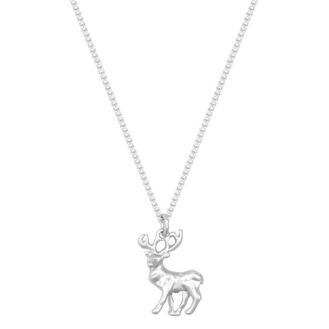 Small Silver Stag necklace
