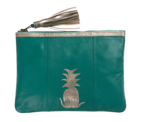 Jade Pineapple Cut Out Zip Top Clutch