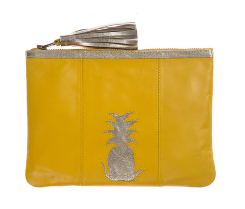 Yellow Pineapple Cut Out Zip Top Clutch