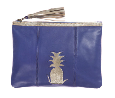 Electric Blue Pineapple Cut Out Zip Top Clutch