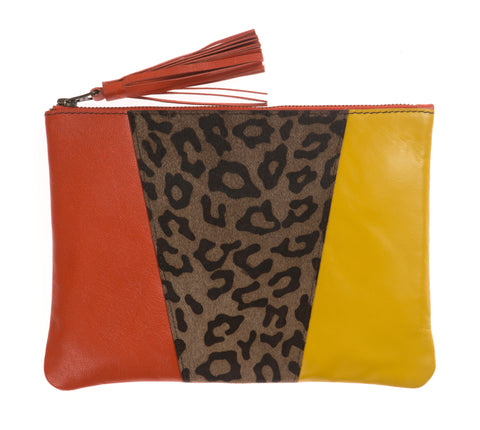 Leopard Print, Orange And Yellow Panel Zip Top Tassel Clutch