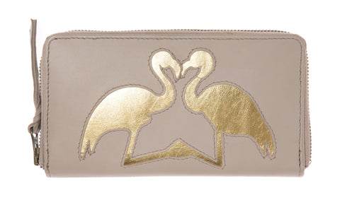 Soft Putty Leather Kissing Flamingos Cut Out Purse