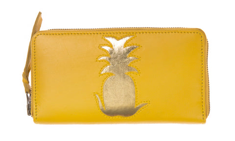 Yellow Leather Pineapple Cut Out Purse
