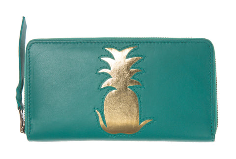 Jade Leather Pineapple Cut Out Purse