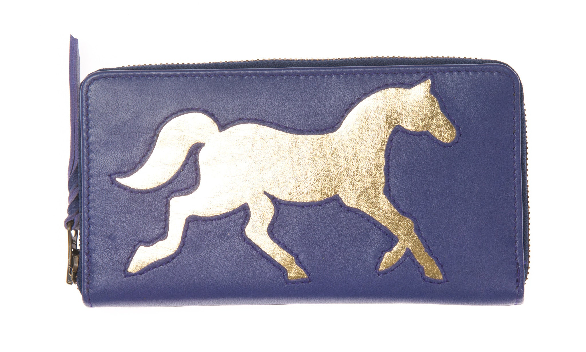 Electric Blue Leather Horse Cut Out Purse