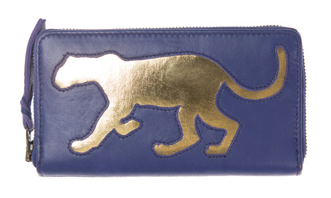 Electric Blue Leather Leopard Cut Out Purse
