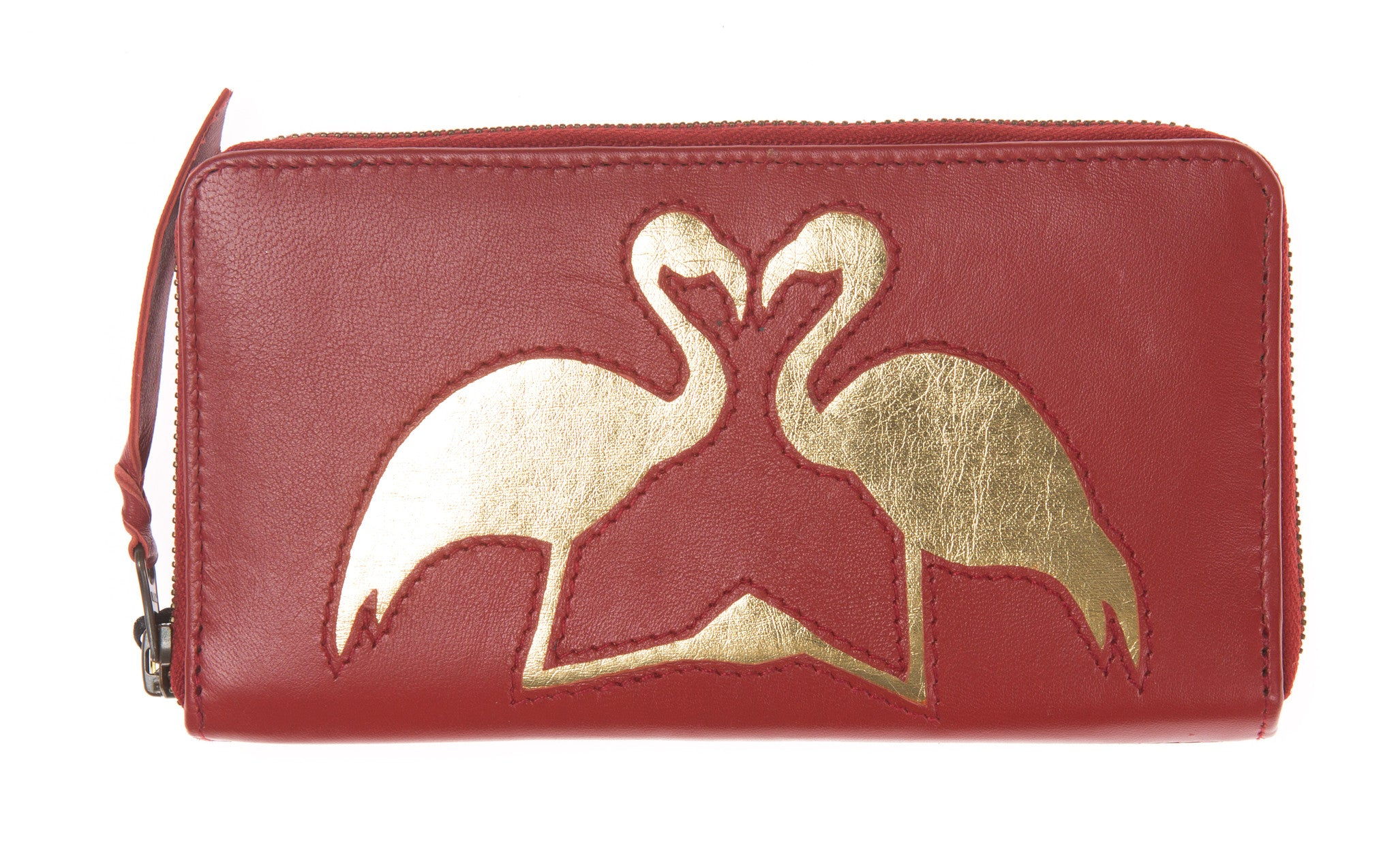 Red Leather Kissing Flamingos Cut Out Purse