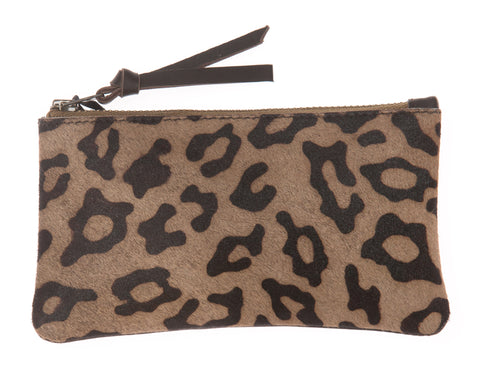 Leopard Print Pony Skin and Brown Leather Coin Purse