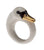 White Swan Ring With Gold Beak