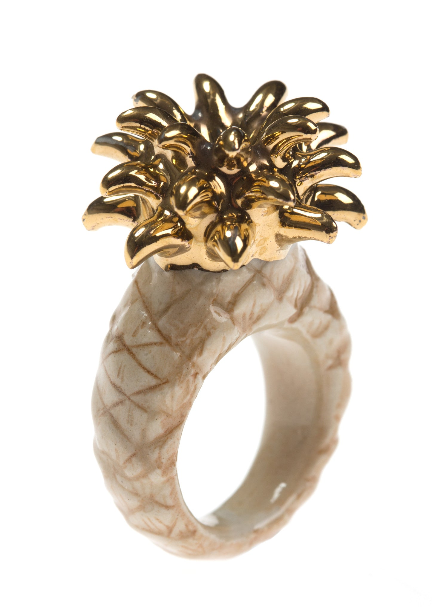 Beige & Gold Pineapple Ring