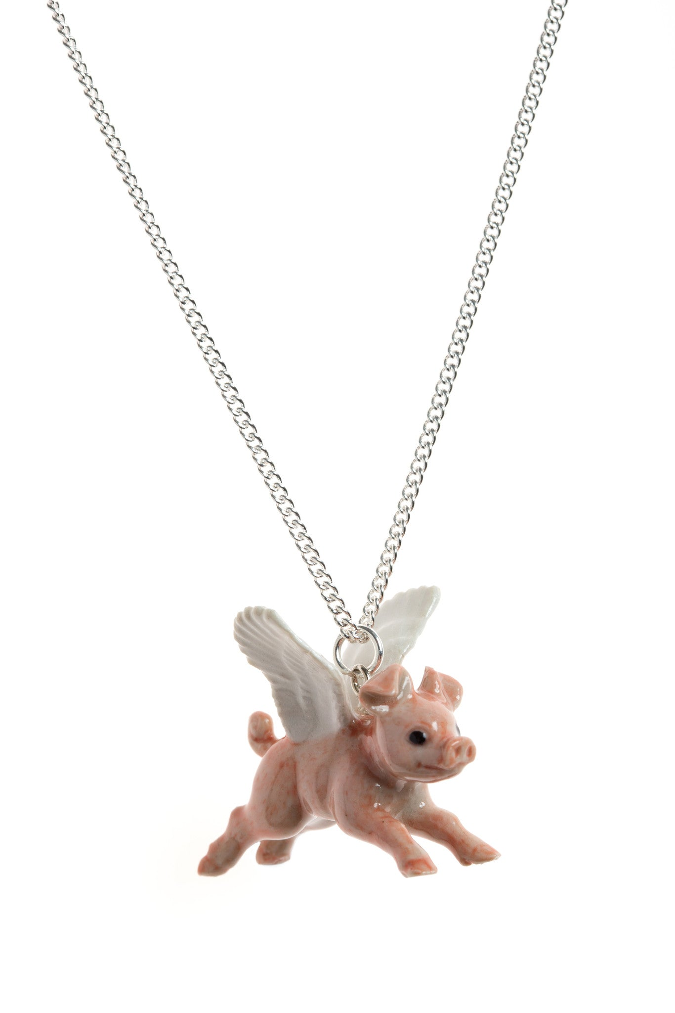 Flying Pig Necklace With White Wings