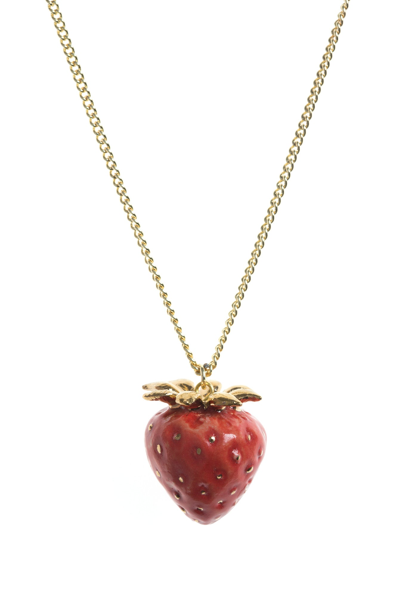 Gold Leaf Strawberry Necklace