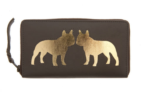 Chocolate Leather Kissing Bulldog Cut Out Purse