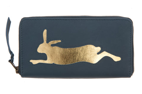 Navy Leather Hare Cut Out Purse
