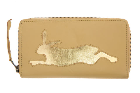 Vanilla Leather Hare Cut Out Purse
