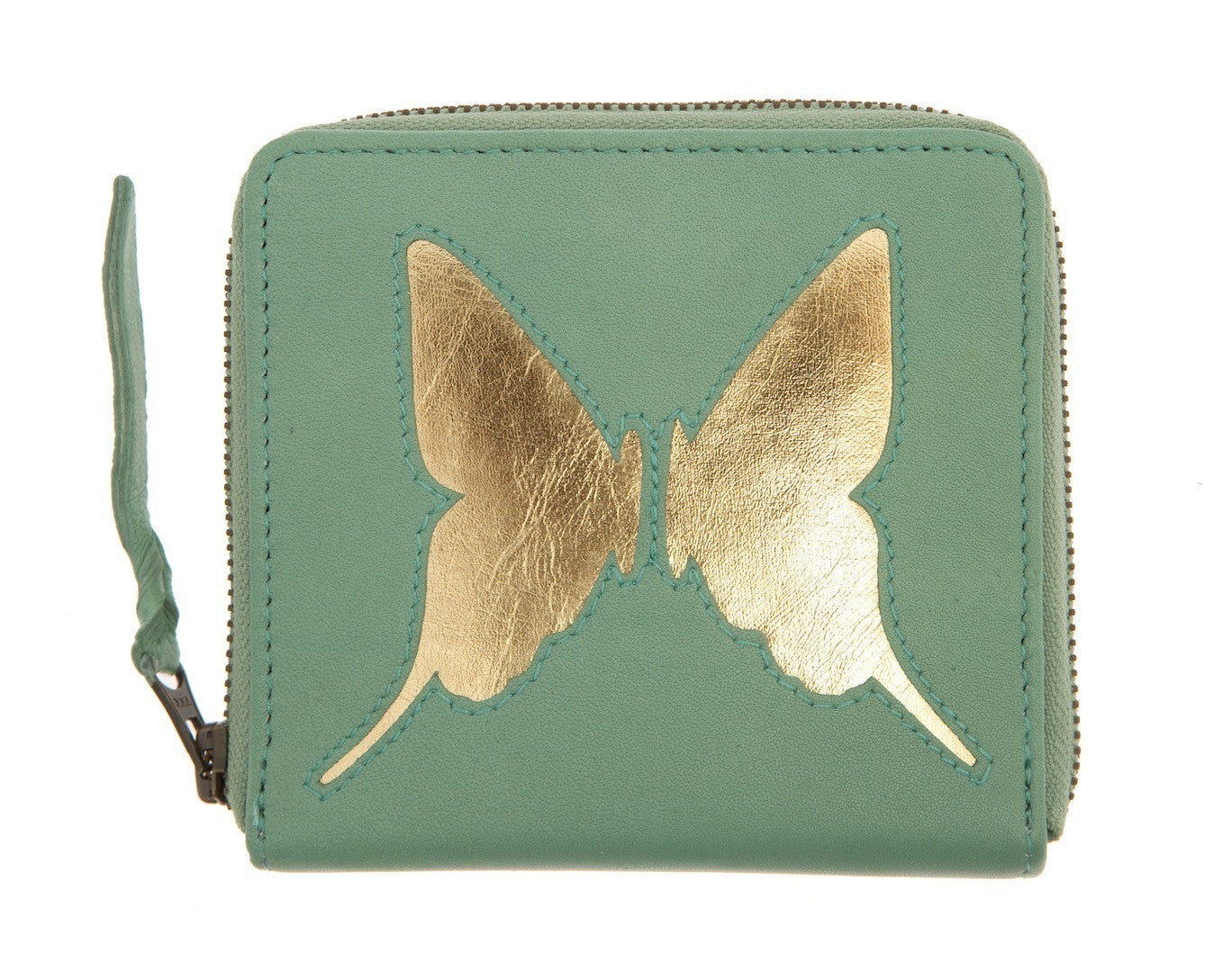 Mint Leather Butterfly Cut Out Purse