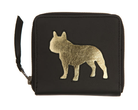 Black Leather Single Frenchie Cut Out Purse