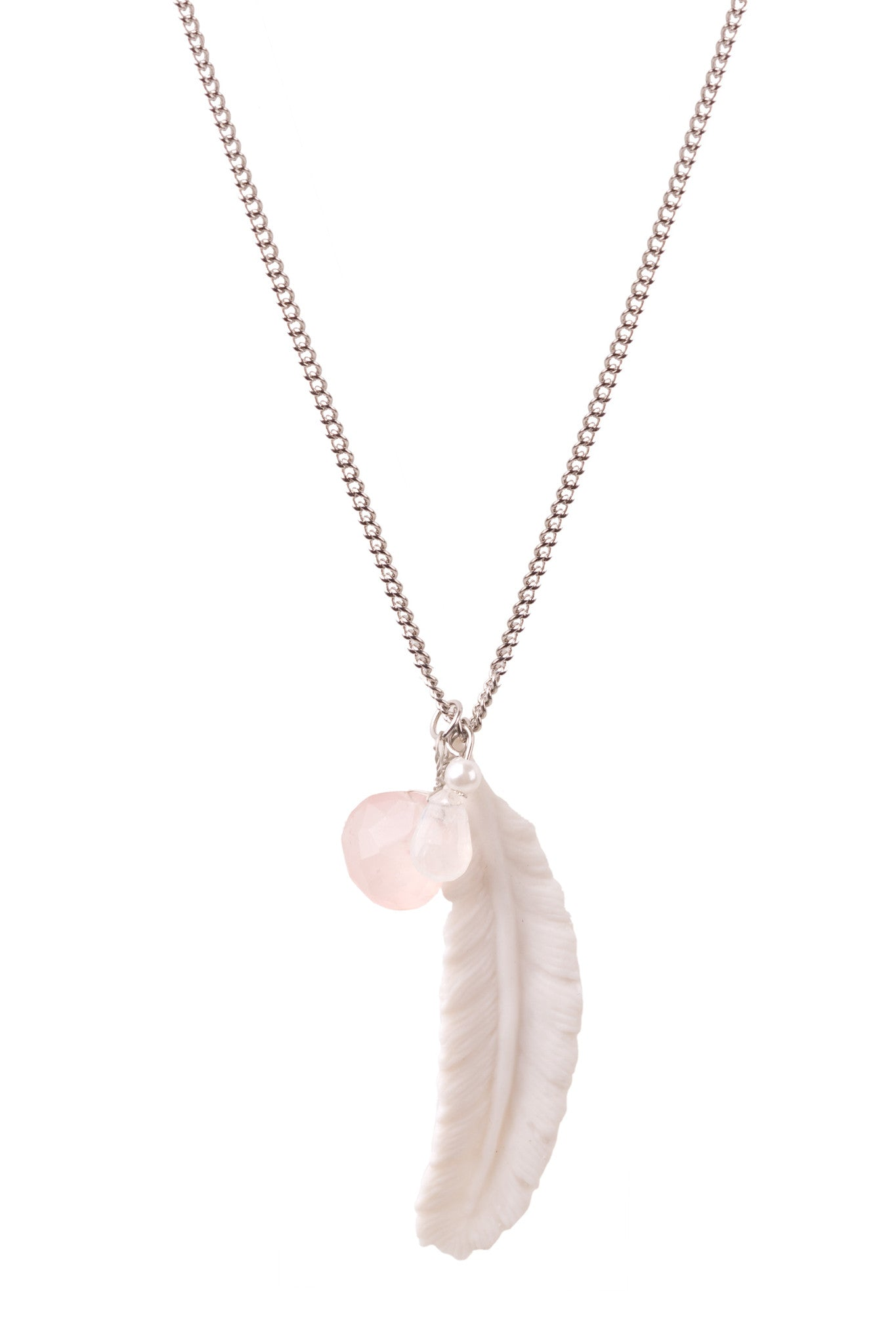 Porcelain Feather, Pearl and Faceted Stone Charm Necklace