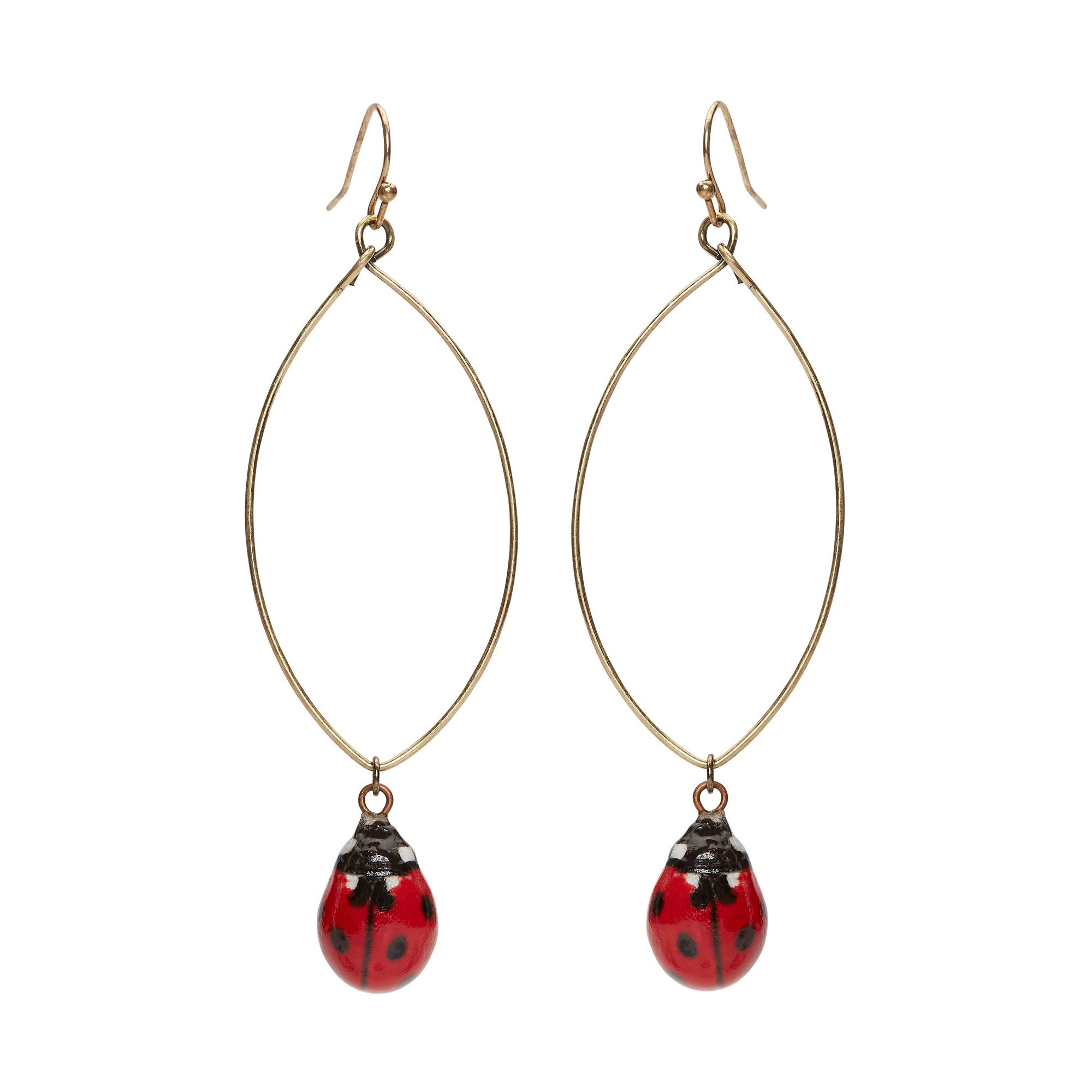 Tiny Ladybird Oval Drop Earrings