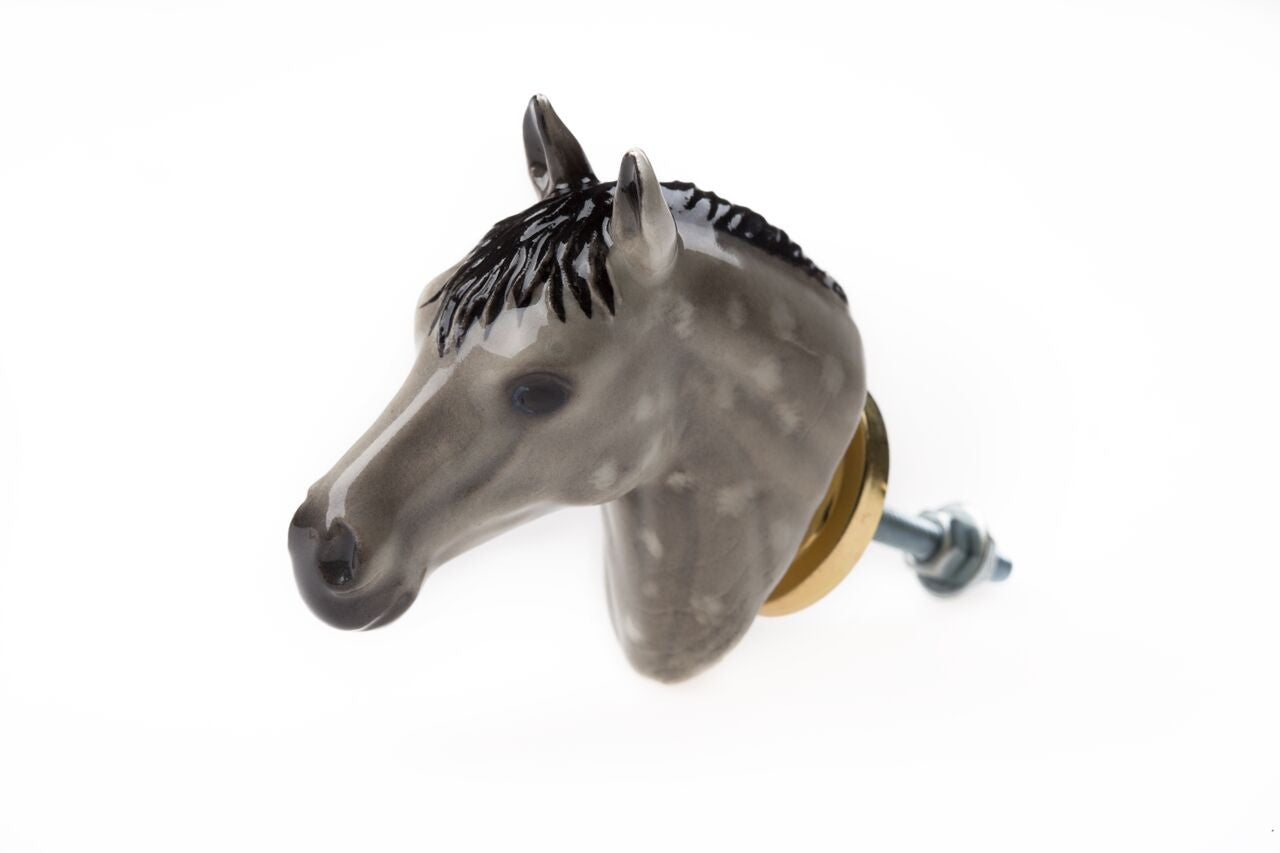 Grey Horse Head Doorknob