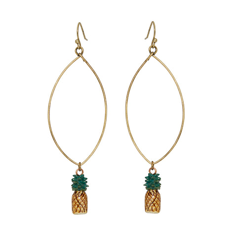 Oval Drop Pineapple Earrings