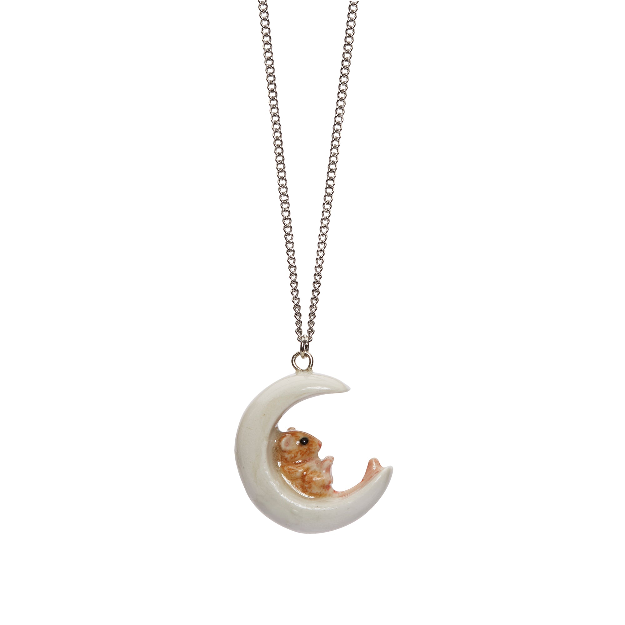 Tiny Mouse On The Moon Necklace